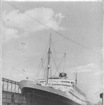 Image of B+W photo of the S.S. Nieuw Amsterdam, Holland-America Line at a Hoboken pier, Hoboken, no date, ca. 1940. - Print, Photographic