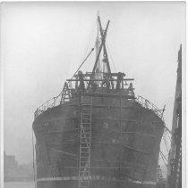 Image of B+W photo of the S.S. Balfen undergoing repair in dry dock, Hoboken, no date, ca. 1935. - Print, Photographic
