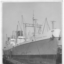 Image of B+W photo of the S.S. President Hayes, starboard bow view, Hoboken, no date, ca. 1941. - Print, Photographic