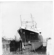 Image of B+W photo of the S.S. American Importer in dry dock, Hoboken, no date, ca. 1940. - Print, Photographic