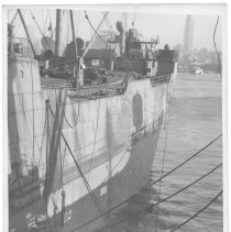 Image of B+W photo of the port side view toward stern of unknown ship, Hoboken, no date, ca. 1940. - Print, Photographic