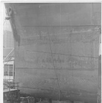 Image of B+W photo of the bow keel of unknown ship  in dry dock, Hoboken, no date, ca. 1940. - Print, Photographic