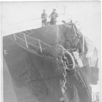 Image of B+W photo of bow damage to unknown ship, Hoboken, no date, ca. 1940. - Print, Photographic