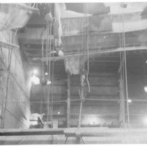 Image of B+W photo of interior view of structural repairs underway on unidentified vessel at Bethlehem Steel Shipyard, Hoboken, no date, ca. 1940. - Print, Photographic