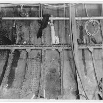 Image of B+W photo of an interior structural view of an unknown ship, Hoboken, no date, ca. 1940. - Print, Photographic