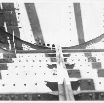Image of B+W photo of an interior structural view of an unknown ship, probably a hold, Hoboken, no date, ca. 1940. - Print, Photographic