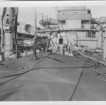 Image of B+W photo of deck damage to an unknown ship, Hoboken, no date, ca. 1940. - Print, photographic