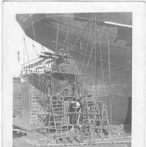 Image of B+W photo of repair work on the steerage of the S.S. Atlantic in dry dock, Hoboken, no date, ca. 1940. - Print, photographic