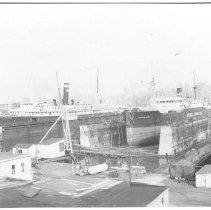 Image of B+W photo of the S.S. City of Savannah in dry dock  no. 3; the S.S. Pipestone County in dry dock no. 2, Hoboken, no date, ca. 1940. - Print, photographic