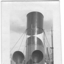 Image of B+W photo of the new funnel of the S.S. Liscaola, Hoboken, no date, ca. 1940. - Print, photographic