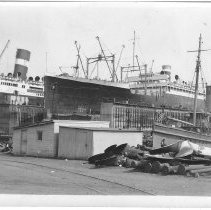 Image of B+W photo of the S.S. American Importer in dry dock no. 2, Hoboken, no date, ca. 1940. - Print, photographic