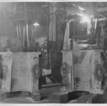 Image of B+W photo of propeller hub halves showing interior, United Dry Dock, Hoboken, no date, ca. 1937. - Print, photographic