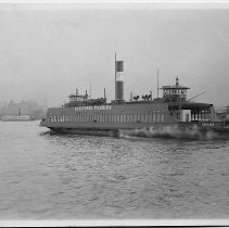 """Image of B+W photo of the ferry """"Chelsea"""" heading towards New York City from Hoboken, no date, ca. 1940. - Print, Photographic"""