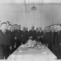 Image of B+W photo group photo of businessmen at a luncheon meeting, Hoboken, no date, ca. 1940. - Print, Photographic