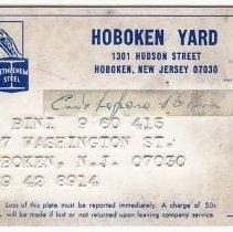Image of Bethlehem Steel Shipyard employee ID card of Christoforo Bini, 807 Washington St., Hoboken, n.d., ca. 1966-1982 - Card, identification