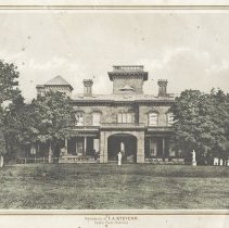 Image of Photogravure print of the western facade of Stevens Castle (Villa) with gold borders, [Hoboken], no date, circa 1890-1900. - Print
