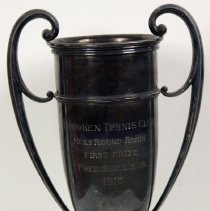 Image of Silverplate loving cup, Hoboken Tennis Club, Mens Round Robin, First Prize, Fred. Schulz, Jr., 1913. - Trophy