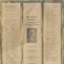 Image of Signed testimonal dinner certificate for William Sperber 50th Anniversary, Tietjen & Lang, 1936. - Certificate, Commemorative