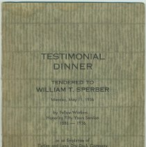 Image of Menu and program for William T. Sperber's testimonial dinner for 50 years at Tietjen & Lang Dry Dock Co, May 11, 1936. - Menu