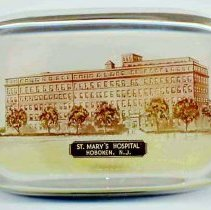 Image of top view, St. Mary's Hospital glass paperweight