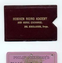 Image of Hoboken Riding Academy ticket with imprinted slipcase holder. No date, circa - Ticket