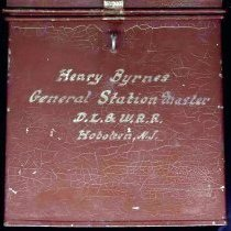 Image of front side of box with hand lettering