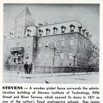 Image of Reference image: Administration building of the Stevens Institute of Technology, Fifth Street and River Terrace, ca. 1890. - Photograph, Illustration