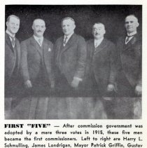 Image of Reference image: Mayor Patrick Griffin and the 4 commissioners of the first commission government as adopted in 1915, Hoboken, ca. 1915. - Photograph, Illustration