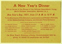 Image of New Year's Dinner, Railroad Y.M.C.A., Jan. 1, 1891