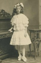 Image of Sepia-tone photo of Florence Miller posed in studio of William Manewal, Hoboken, no date. - Print, photographic