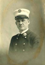 Image of B+W photo portrait of Fireman Andrew A. Keller, Hoboken Fire Department, Hoboken, 1921 - Print, Photographic