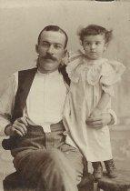 Image of Sepia-tone portrait of John W. Miller and Florence Miller, ca. age 4-5, Hoboken, no date, ca. 1892-1895. - Carte-de-visite