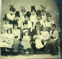 Image of Tintype group photo of the Miller family and others, no place, no date, ca. 1885. - Tintype