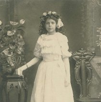 """Image of Sepia-tone photo of """"Genevieve K."""" posed in a studio, Hoboken, no date, ca. 1900-1910. - Print, Photographic"""