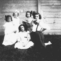 """Image of B+W 4"""" x 5"""" glass plate negative image of Florence and Madeline Miller plus 3 other girls in the backyard of 716 Bloomfield St., Hoboken, no date, ca. - Negative, Glass-plate"""