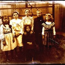 """Image of B+W 4"""" x 5"""" glass-plate negative image of Florence and Madeline Miller with 4 other girls in the backyard of  716 Bloomfield St., Hoboken, no date, ca - Negative, Glass-plate"""