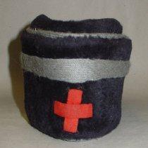 Image of American Red Cross volunteer's cap belonging to Mrs. Mary Markey of Hoboken, no date, ca. 1916-1925. - Hat