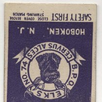 Image of Matchbook from Elks Club, 1005 Washington St., Hoboken, N.J., no date, ca. 1950. - Matchbook