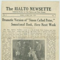 Image of The Rialto Newsette. Vol.1, no. 3, Week of May 4,1925. [The Rialto Theatre, 118 Hudson St., Hoboken]. - Program, Theater