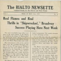 Image of The Rialto Newsette. Vol.1, no. 4, Week of May 11,1925. [The Rialto Theatre, 118 Hudson St., Hoboken]. - Program, Theater