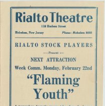 "Image of Program for Rialto Stock Players presentation of ""What Price Glory?"" Week of Feb. 15, [1926]. The Rialto Theatre, 118 Hudson St., Hoboken. - Program, Theater"