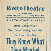 "Image of Program for Rialto Stock Players presentation of ""The Night Duel."" Week of April 13, [1926]. The Rialto Theatre, 118 Hudson St., Hoboken. - Program, Theater"