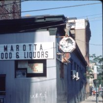 Image of Color slide of buildings on or near First and Clinton Sts., Hoboken, ca. 1983-84. - Transparency, Slide