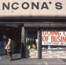 Image of Color slide of Ancona's storefront, 318 Washington St., Hoboken, December, 1984. - Transparency, Slide