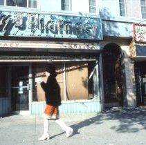 Image of Color slide of storefront of the former Kay's Pharmacy, 326 Washington St., Hoboken, November, 1983. - Transparency, Slide