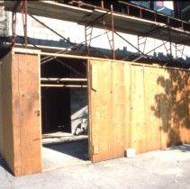 Image of Color slide of the renovation underway at the former Geismar's men's store & building, 222 Washington St., Hoboken, June, 1984. - Transparency, Slide