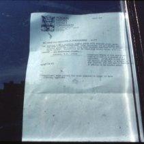 Image of Color slide of Hoboken Historic District Commission Certificate of Appropriateness no. 224 issued for 306 Washington St., Hoboken, October, 1984. - Transparency, Slide
