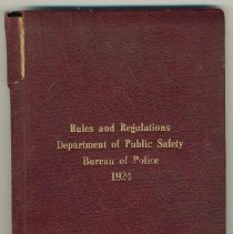 Image of Rules and Regulations, Department of Public Safety, Bureau of Police, City of Hoboken, N.J. 1924 - Book