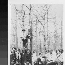 Image of Group photo of Girl Scouts playing kickball; 2 sitting on bar between trees; no date - Print, Photographic
