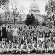 Image of B+W group photo of Hoboken Girl Scouts at U.S. Capitol, Washington, D.C. April, 1978. - Print, Photographic
